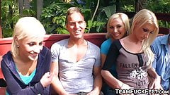 Naughty blonde trio riding group cock in garden