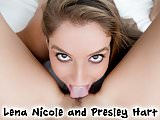 Lena Nicole and Presley Hart lick pussies in POV