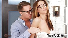 Young brunette lets her office mate fuck her in the ass