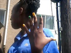 MILF Ebony Yellow & Green Toes