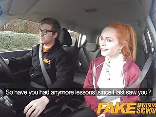 Preview 2 of Fake Driving School Redhead Ella Hughes eats instructors cum