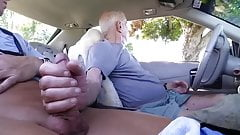 Handsome Grandpa Sucks in His Car
