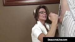 Medical Provider Deauxma Strokes Her Patient's Hard Cock!