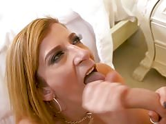 horny busty  housewife hops on his big cock and rides hard
