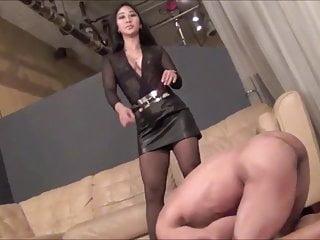 Cruel Asian mistress ballbusting her slave