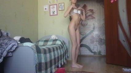 18 Skinny girl strip on cam