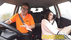 Fake Driving School Instructor gets titty wank from big tits