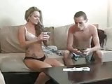 Mom and not son pay strip poker