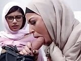 Two Middle East sluts sucking a big White cock