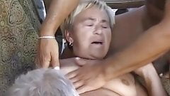 OmaPasS Red Dildo in Hairy Pussy and Blowjob