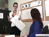 Sex teachers Eva Notty and Syren De Mer sharing a large dick