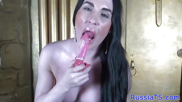 Preview 1 of Russian tgirl tugging cock and toying ass