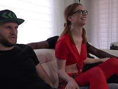 Red haired hottie Pepper Hart does her first IR, DP, DAP!