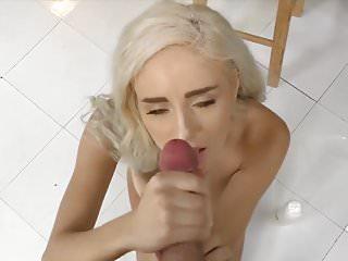 Blonde Teasing Handjob with Face Cumshot