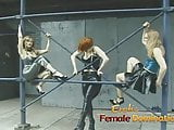 Three kinky lesbians enjoy having some naughty fun in public