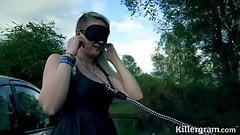 Slut girlfriend taken to woods and fucked by strangers