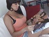 Sexy Latina Diamond plays with her favorite purple toy