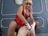 Mistress fucks her slave and then makes him eat his own cum