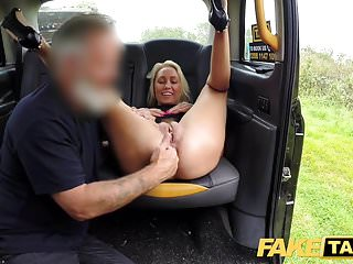 Preview 4 of Fake Taxi Busty sexy blondes holes stretched and fucked