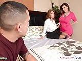 Horny babes Charlee Chase and Sara Jay sharing cock