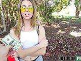 Super hot blonde Anya Olsen fucking in public for cash