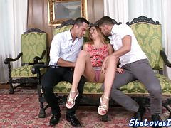 Bigtits babe doggystyled and dp screwed