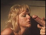 Mature blonde gets down on her knees and her mouth fucked with white cock