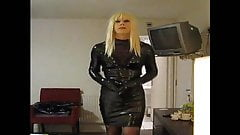 PatsyPVC transvestite fetish slut in a tight PVC dress..