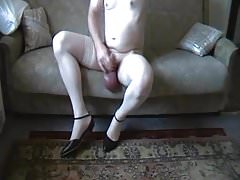 Cross dressing, pumped cock and balls