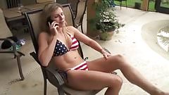 Wife fucks poolboy with husband on the phone
