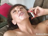 Slim MILF Alia Janine Big Tits Gets a Facial From Rodney