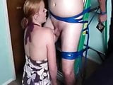 Tied on the ladder handjob and post orgasm torture
