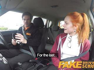 Preview 1 of Fake Driving School Redhead Ella Hughes eats instructors cum