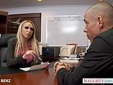 Stockinged office babe Nikki Benz fuck