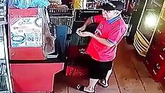 Woman change her sanitary towel in public