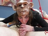 Hot babe turned into monkey for humiliating rough anal sex