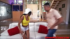 Ebony teenager cockriding maledom in roughsex