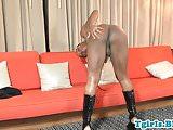 Freaky black trans spreads ass and jacks solo