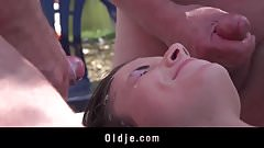 Amazing gangbang  teen pussy fucked by old men