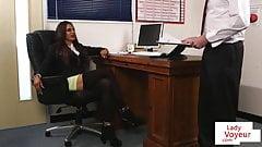 CFNM bosslady humiliates employee in JOI