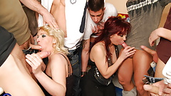 8 sons on 2 mature moms insane sex party