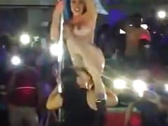 Latina stripper get pussy eaten on stage