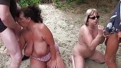 2 mature nudist wives used as cumdump seadsluts