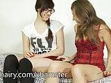 Two hot lesbian hairy babes Anni Bay and Loredana