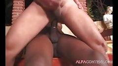 Busty black shemale enjoys fucking white ass