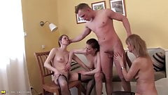 Granny and moms suck and fuck young cock