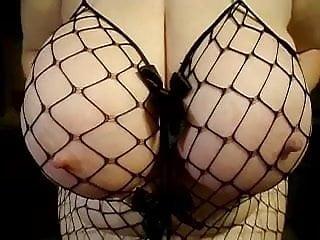 My lady friends 42 triple D boobs - fish net