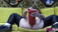 FetishFreakScene Pussy gapping with huge red dildo