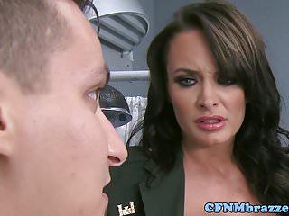 CFNM military nurses submits voyeur in trio