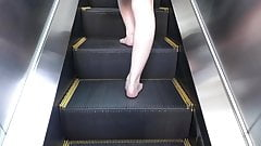 Barefoot walking escalator and stairs
